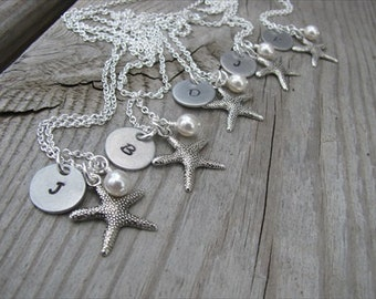 Set of 6 Personalized Bridesmaids Necklaces- Silver Starfish Necklaces- with pearl accent and hand-stamped initials- set of 6