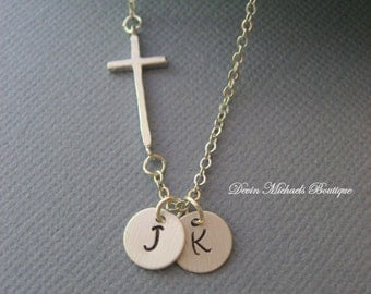Personalized Necklace, Sideways Cross Necklace, Silver Cross Choker, Initial Jewelry, Personalized Mother's Necklace