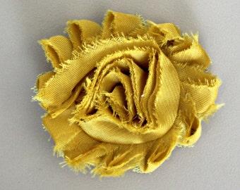 Shabby Flower Hair Clip, Mustard Yellow