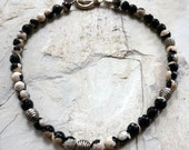 White and Black Necklace, Faceted Agates Gemstone, Silver Plated Bead, Black and White Statement Necklace, Chunky Black and White Necklace.