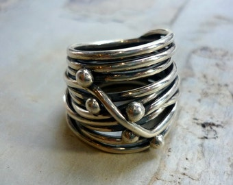 Sterling Silver Ring, Wire Wrapped Silver Ring, Silver Ring, Statement Silver Ring, Silver Beads, Chunky Silver Ring, Big Silver Ring.