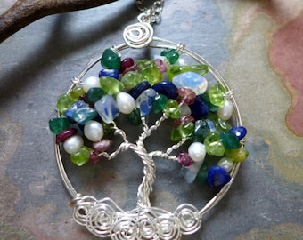 Wire Wrapped Custom/Personalized Tree of Life Pendant with Sterling Silver Chain- Blue/Green Tree of Life -Birthstone Pendant Necklace