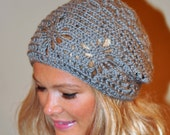 Slouchy Beanie Women Hat Slouchy Hat Summer Hat Gray Grey Naturel Wood Earth Neutral Crochet Gift under 50
