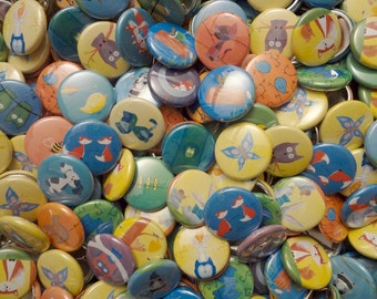 "30 Forest Animal Party Favors - 1"" Pinback Art Buttons"