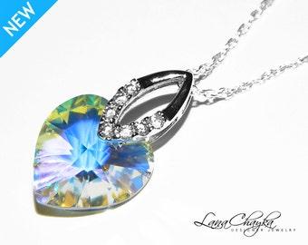 Aurora Borealis Heart Crystal Necklace 925 Sterling Silver CZ Heart Necklace Swarovski Heart Crystal Necklace Wedding Jewelry Bridal Jewelry
