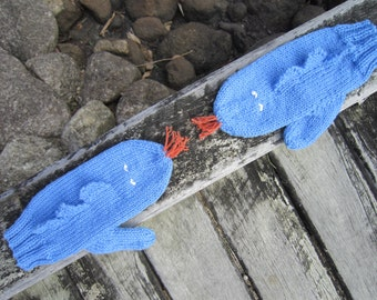 ON SALE Dragon novelty mittens gloves 'fire breathing' . Blue soft pure wool.