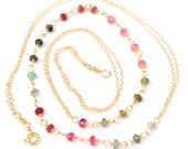 Rainbow Necklace, Multi Tourmaline Necklace, Long Gold Rainbow Tourmaline Layering Necklace