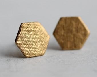 Hexagon Earrings ... Geometric Deco Honeycomb Brass Stud Posts