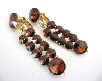 Vintage Rhinestone Earrings - Rootbeer Rivoli Rhinestone Dangle Earrings