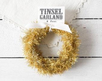 Tinsel Garland - Lemon Yellow Shimmer, Vintage Style Trim, 8 Feet
