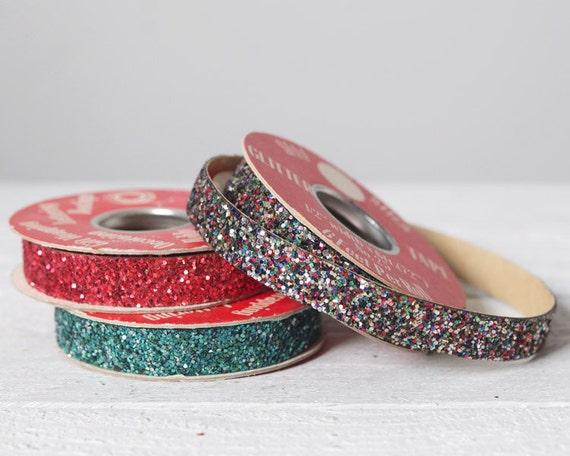 Vintage Glitter Tape - 1960s Shimmer Craft Embellishment, 3 Spools