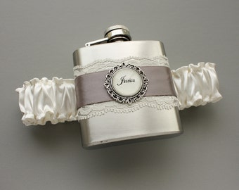 FLASK GARTER -- Ivory & Gray (Custom Colors Available) -- Wedding Bridal Garter with Flask for Bride or Bridesmaids