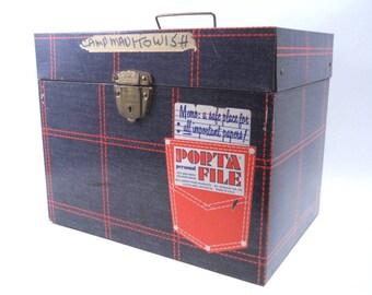 Vintage Metal Faux Denim Portafile Box 70s x