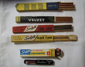Five Vintage Boxes of Pencil Lead ( Scripto, Sheaffer, Venus Velvet, Dixon ) and 1 Box of Erasers