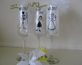 ONE Wedding Toasting Flutes  We Did It! Hand Painted Personalized  Glasses Personalized
