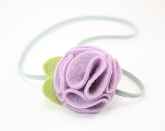 Lavender Gray Felt Flower Headband Baby Headband Newborn Toddler Girls Women