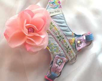 Small Dog Harness - Pink Flower