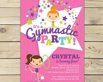 Gymnastics Birthday Invitation Printable - Gymnastics Birthday Party Invitations - Gymnastics Invitation - Gymnastics Party - Girl Birthday