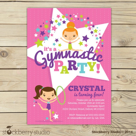 Gymnastics birthday invitation printable gymnastics birthday party il570xn stopboris Choice Image