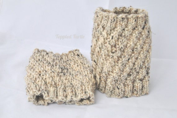 Hand Knit Boot Cuffs - The Twist in Oatmeal | Cream Boot Cuffs | Knit Boot Socks | Knit Leg Warmers | Oatmeal Boot Cuffs
