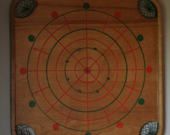 Antique Double Sided Carrom Game Board with Checkers Board  - Number 85 -Unique Wall Hanging for Living Room or Family Room - Black and Red