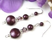 Blackberry Pearl Earrings Swarovski Crystals Sterling Silver Handmade
