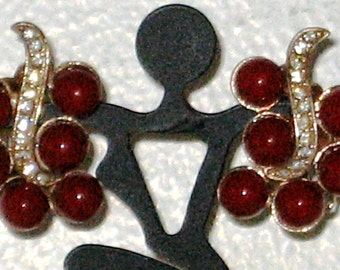 Vintage Red Glass Beads and Rhinestone Earrings