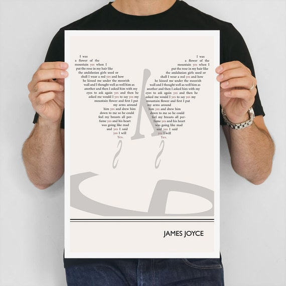 """Literary Art Print, """"James Joyce"""" Large Wall Art Posters, Literary Quote Poster, Illustration, Black and White Art, Literary Gift"""