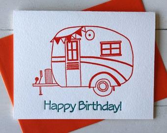 Vintage Caravan Birthday Card Letterpress Card