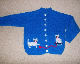 Cat Jacket for 4 to 5 year old girl, handknitted