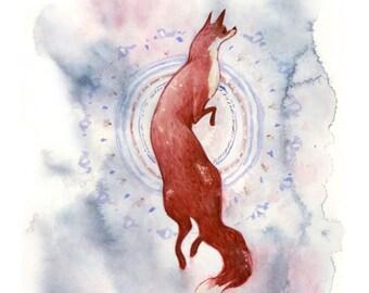 Fox Dance Watercolor Art Print