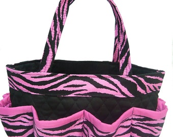Pink  Zebra Bingo Bag // Craft Organizer // Makeup Organizer // Caddy // Teacher Tote // Nurse Tote