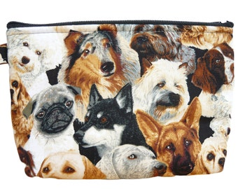 Dog print  make up bag