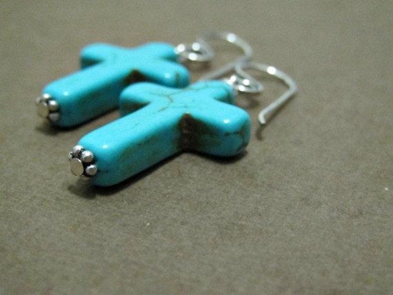 Turquoise Cross Earrings | Southwestern Earrings | Religious Christian Jewelry | Cross Earrings