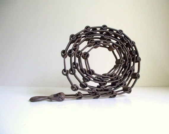 Vintage Drive Chain Square Link Chain Industrial Steel