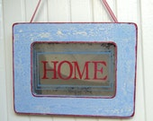 Americana Home Sign Antiqued Mirror Welcome 4th of July Red White Blue Front Porch Vintage Style Shabby Chic Patriotic