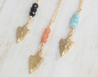 Gold Arrowhead Necklace with Gems, 14k Gold Filled,Brass,Black Onyx,Peach Moonstone,Aqua Blue Peruvian Opal, You choose Gem, Boho Chic Style