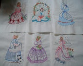 6 machine embroidered quilt blocks vintage style southern belle design embroidered quilt squares