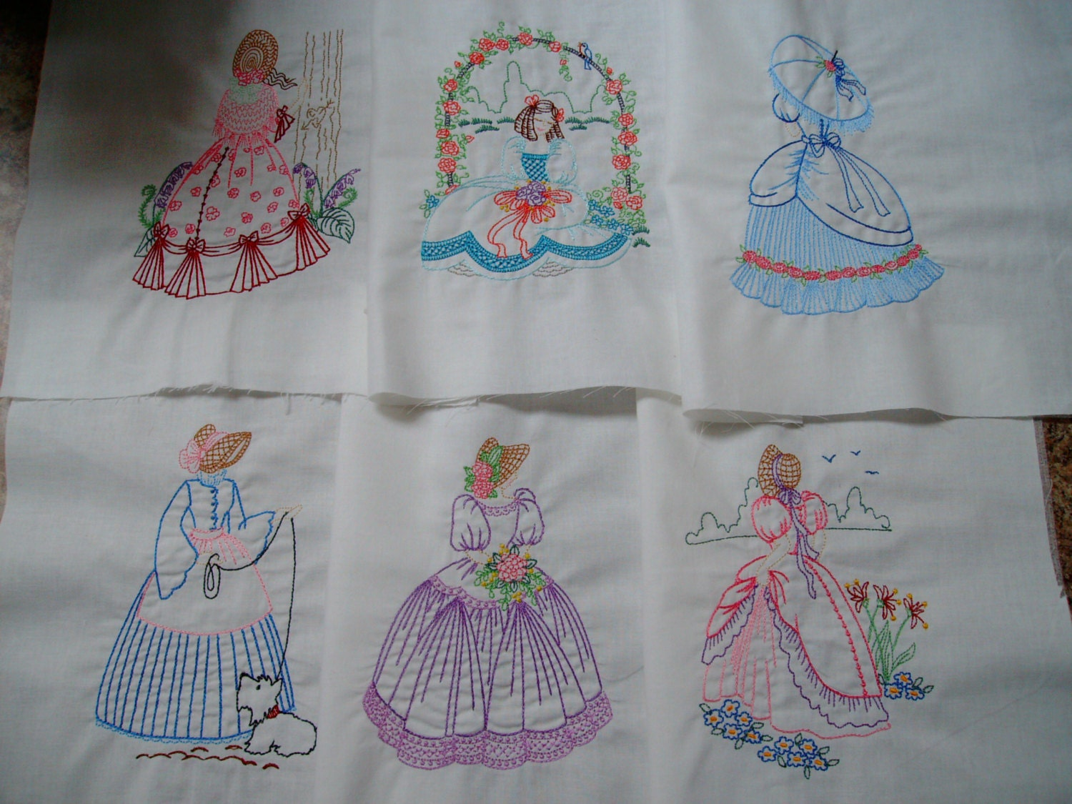 Machine embroidered quilt blocks vintage style southern