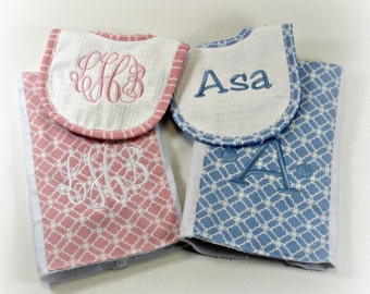 Pink or Blue Burp Cloth with Bib Set for Babies