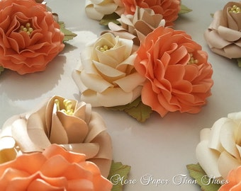Corsages - Paper Flowers - Weddings - Bridal Shower - Baby Shower - Salmon - Tan - Ivory  - Made To Order - Set of 6