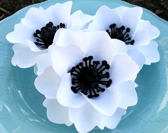 Paper Flowers - Weddings - Party Favors - White w/ Black Centers -Custom Colors Available - Set of 50