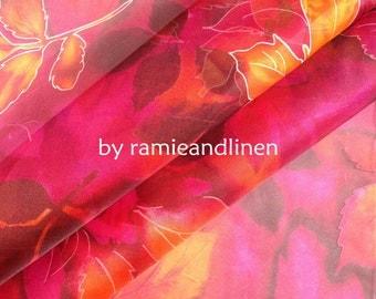 """silk fabric, maple leaf print Silk Organza, one yard by 44"""" wide"""