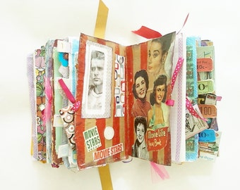 Altered Book Scapbook Journal 1960s Theme - Junk Journal - Handmade Book - Smash Book - Altered Journal
