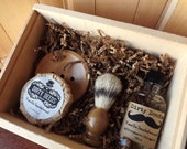 6 Men's Shave Set in Deluxe Wood Box with Aftershave/Cologne, Boar Brush, Mens Grooming