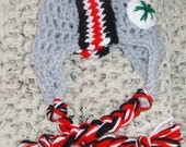 Hand Crocheted Ohio state buckeyes earflap hat all sizes newborn to adult