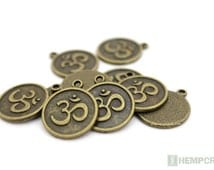 10pc Om Charms, Antique Bronze Color, 18mm, Bronze Ohm Charms