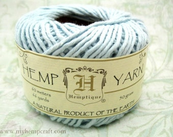 Cotton Hemp Yarn, Sky Blue, 66yd Natural DK Weight Hemp Cotton Blend Yarn