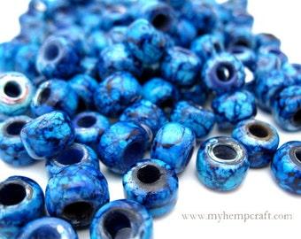 Glass Roller Beads, Indigo Blue Glass Pony Beads, 9mm - 50pc