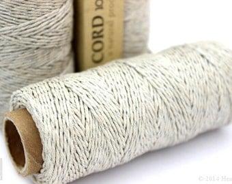 Natural and Silver Metallic Hemp Cord, 1mm 20lb Polished Hemp Craft Cord